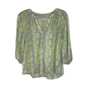 Joie 3/4 Sleeve V-Neck Silk Blouse XS Yellow Gray
